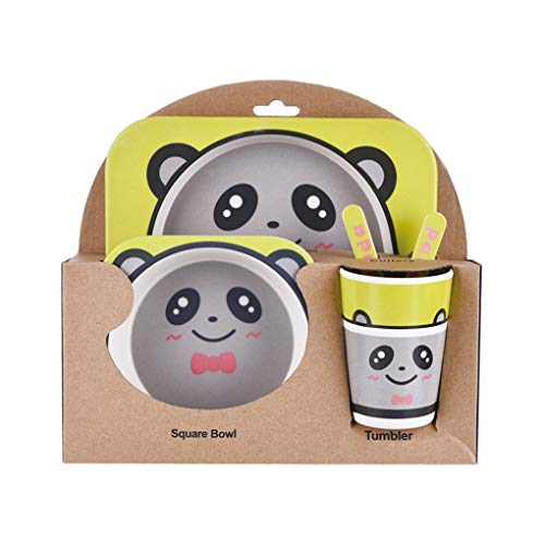 Lidahaotin Kinder-Geschirr-Set 5er Baby-Bambusfaser-Cartoon Bowl Tier Geschirr Set Kleinkind-Cup-Löffel-Gabel #4