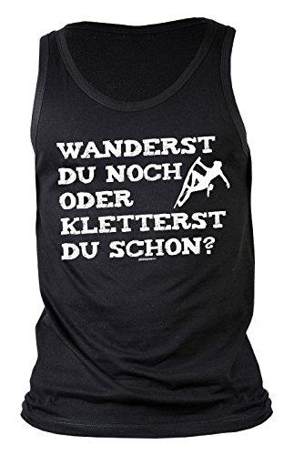 Herren Tank Top für Bergsteiger - Wanderst du noch oder kletterst du.. - Wandern - Bergwandern - Geschenk - Muskelshirt - Oberteil - shirt - schwarz Schwarz