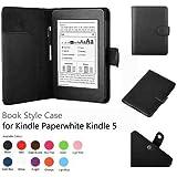 Leder Schutzhülle Hülle Tasche Lederhülle Leather Case Cover Premium Leder Case für den neuen Amazon Kindle Paperwhite und Kindle Paperwhite 3G, Mit Sleep / Wake Smart Cover Funktion Schwarz