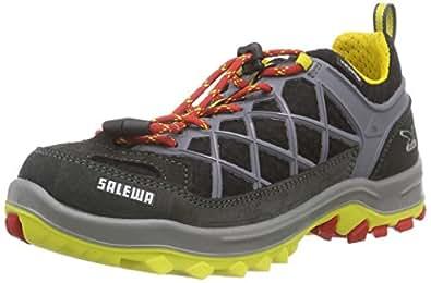SALEWA JR WILDFIRE WATERPROOF, Unisex-Kinder Trekking- & Wanderhalbschuhe, Schwarz (Carbon/Flame), 27 EU (9 Kinder UK)