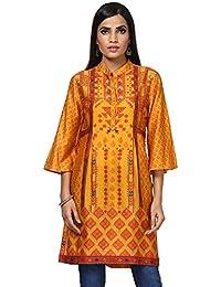 Ritu Kumar Women's Silk Kurtas(KTICS22D-100N16576379__Mustard)