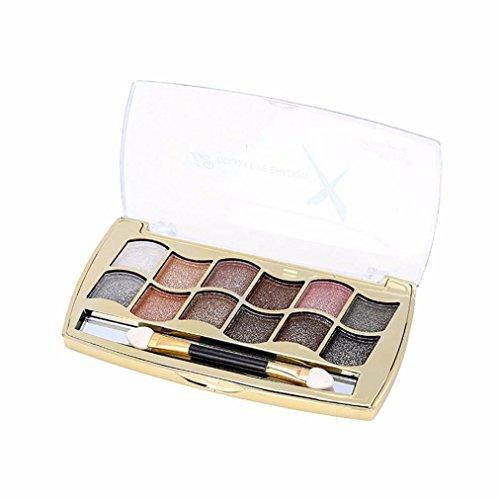 WYXlink Neue 12 Farben Frauen pro eyeshadow Schimmer Palette & Kosmetik Pinsel Make-up Set (E) (Schimmer Halloween)