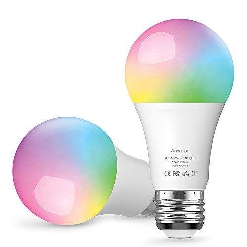 Mit Lumen6500 KelvinBulb Wifi E27 Lampe Dimmbare GlühbirneAoycocr Lampe750 Led Alexa Mehrfarbige Smart Kompatibel Wlan Glühbirnen IY7v6ybmfg