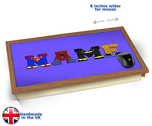 Dark Blue Superhero Personalised Childrens Name Cushioned Bean Bag Laptop Lap Tray Desk - Built-in...