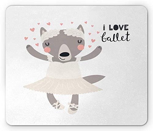 """Cartoon Mauspad, Ballerina Wolf Spitzenschuhe Tutu I Love Ballet Kursive Formulierung, Standardgröße Rechteck Rutschfeste Gummi-Mousepad, Blass Taupe Eierschale erröten,Gummimatte 11,8\""""x 9,8\"""" , 3 mm"""