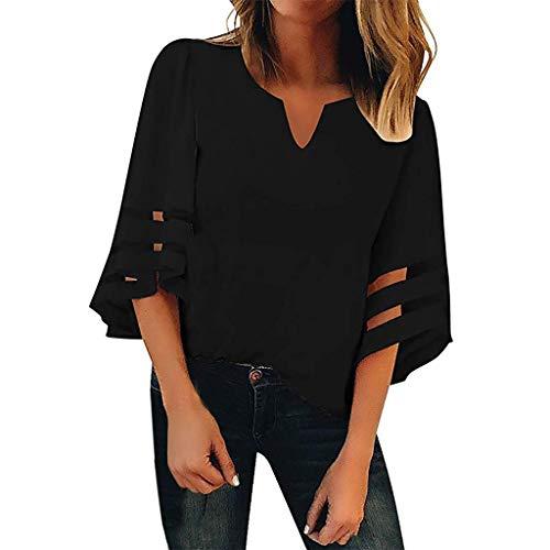 LOLIANNI Frauen V-Ausschnitt Blumenmuster Reine Farbe Mesh Panel Bluse Damen 3/4 Bell Sleeve beiläufige lose Tops Shirt