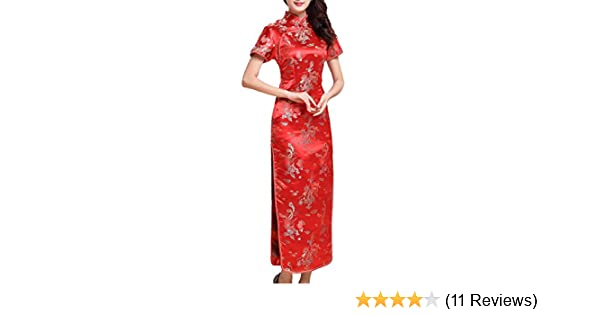9b2a4efffb701 UK Stock Women's Red Chinese Long Dress
