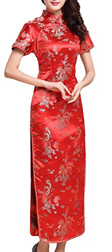 UK Seller Red Dragon & Phoenix Chinese Woman Long Evening Party Dress Cheongsam Qipao (UK 8)