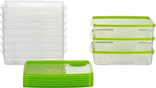 MiraHome Frischhaltedose Gefrierbehälter 1l rechteckig flach 21x14x5,5cm 10er Set grün Austrian Quality