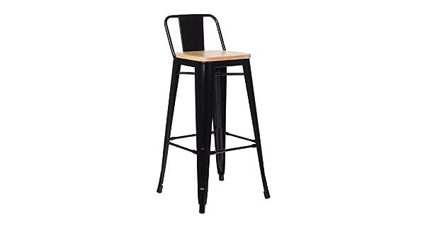 Sklum sgabello alto con schienale lix legno nero scegli un colore