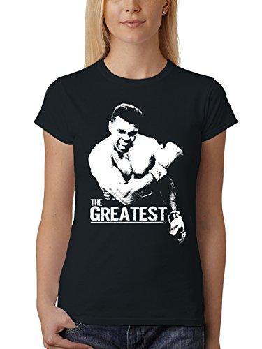 clothinx Damen T-Shirt Fit The Greatest Schwarz Gr. M (T-shirt-damen-schwarz-boxer)