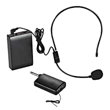 ammoon FM Wireless Microphone Headset System Voice Amplifier 1/4in Output Plug with Bodypack Transmitter Receiver for Teacher Speaker Yoga Instructor Presenter Lecturer Conference Speech Promotion