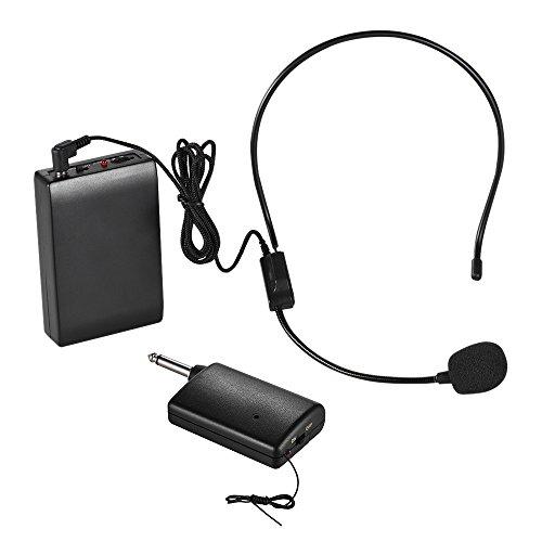 ammoon Portatile Microfono Senza Fili FM Sistema Auricolare Amplificatore Vocale Spina di Uscita 1/4in con Ricevitore Trasmettitore Bodypack per l'altoparlante Dell'insegnante Istruttore di Yoga