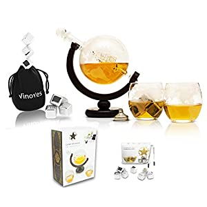 VinoYes Edle Whisky Karaffe mit 8 Whisky Steinen und Whiskygläser Set aus Handarbeit   Decanter Whisky Set in einer schönen Geschenkbox   luftdichter Verschluss   850ml Glaskaraffe mit 2er Whiskyglas.