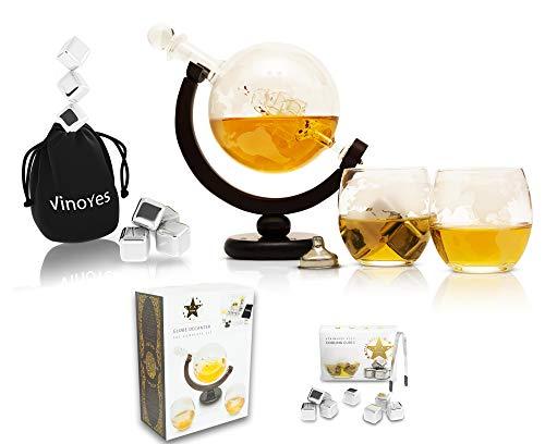 VinoYes Edle Whisky Karaffe mit 8 Whisky Steinen und Whiskygläser Set aus Handarbeit | Decanter Whisky Set in einer schönen Geschenkbox | luftdichter Verschluss | 850ml Glaskaraffe mit 2er Whiskyglas.