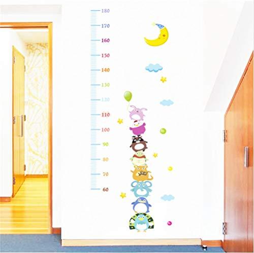 Chellonm Cartoon Tiere Mond Wachstum Tabelle Wandaufkleber Für Kinderzimmer Kindergarten Wanddekor Diy Höhe Maßnahme Wandtattoos Pvc Poster 50 * 70 Cm (Mond-tabelle)