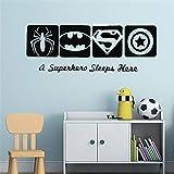 stickers muraux enfants winnie Spiderman Batman Captain America Super Hero Enfants Garçons Room Decor Hero Style Mur Pépinière Décoration