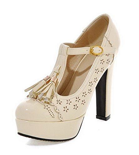 VogueZone009 Femme Boucle à Talon Haut Pu Cuir Rond Chaussures Légeres Beige