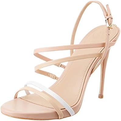 Guess Tiany (Sandal)/Leather, Zapatos de tacón con Punta Abierta para Mujer, Blanco (White NATU), 39 EU