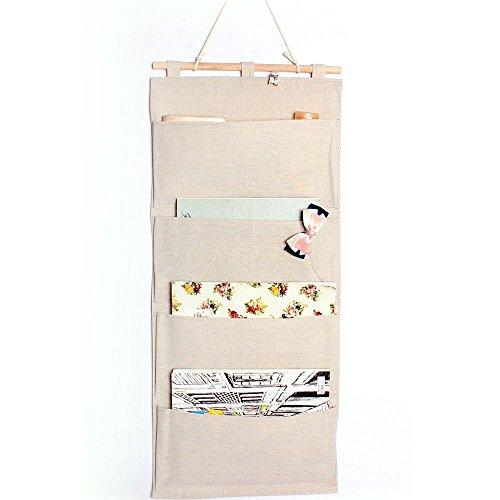 Lino / cotone tessuto a parete Porta armadio Hanging bagagli Bag Books organizzativa Back to School Ufficio Camera Cucina Rettangolo 4 tasche dell'organizzatore della casa del regalo, 13.8