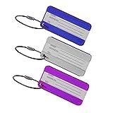 Uzinb 3pcs Lega di Alluminio Bagagli di Corsa Label Cinghie della Valigia Nome TEL Etichette per Bagagli