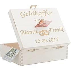 Geschenke 24: Geldkoffer zur Hochzeit (Natur) - Ringe - originelles Geldgeschenk - personalisierte Spardose - Geldspardose Hochzeitsgeschenk