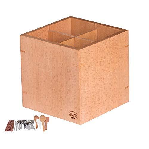 nhatvywood Küche Utensilienhalter und Organizer ist leicht zu reinigen herausnehmbaren Fächern-Halt Löffel, Messer, Gabeln, Stäbchen, Holz natur, Größe 1.300,5x 1.300,5x 1.300,5cm. - Personalisierte Holz-messer