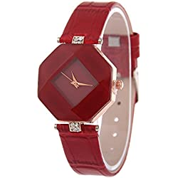 Kezzi Ladies Fashion Hexagon Case Rhombus Dial Quartz Watch with Rhinestone Decorative Leather Strap Red