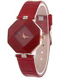 GossipBoy reloj de mujer de moda, linda relojes cuarzo para damas niñas, Caja de hexágono, esfera romboidal, correa de piel sintética, rojo