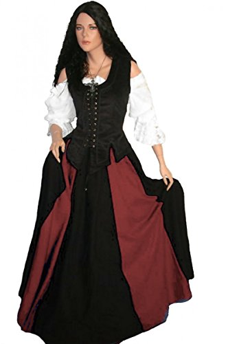Kostüm Damen Rustikale - Dark Dreams LARP Mittelalterkleid Mittelalter Gewand Kleid Mieder Rock Bluse Brighid 36 38 40 42 44 46, Farbe:schwarz/rot, Größe:L
