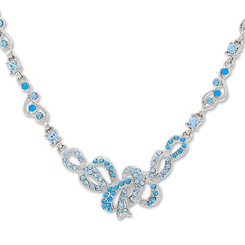 Damen Halskettensilber Collier mit Swarovski Kristallen besetzt blau Damen Schmuck