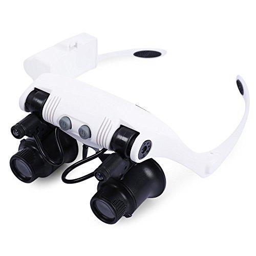 Perfectii Lupenbrille mit 2 LED Licht, 10 x 15x 20 x 25x Handfrei Kopfband Lupe Brillenlupe Lampe Verstellbare für Reparatur, Hobby, Elektriker, Juweliere, Nähen, Handwerk