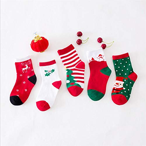 QWERGLL 5 Pares de Calcetines de Invierno para niños, Calcetines Casuales de Navidad en Tubo Calcetines...