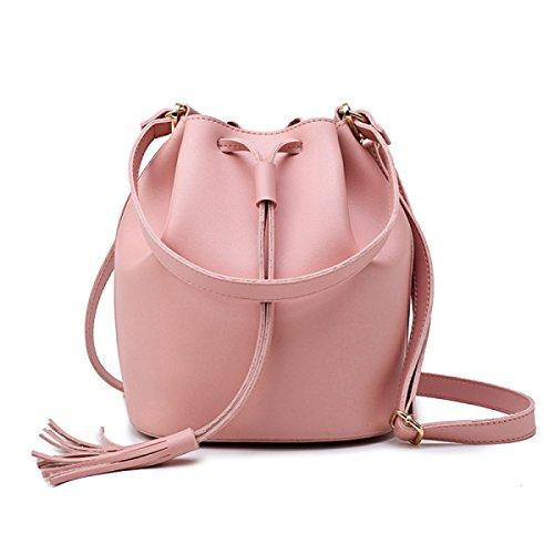 Quasten Cross-Body Schultertasche Eimer Tasche Pink