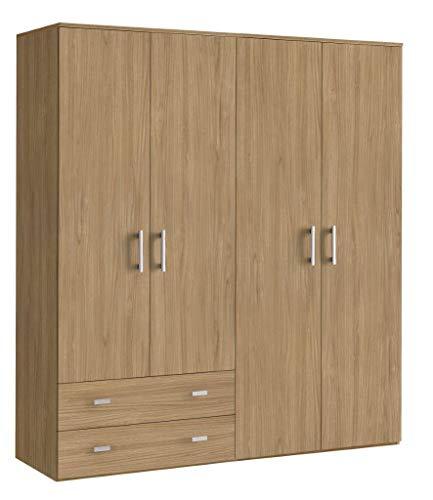 Klipick armadio 4 ante più 2 cassetti. dimensioni: l 161 p 52 altezza 207. oriana. colore noce.