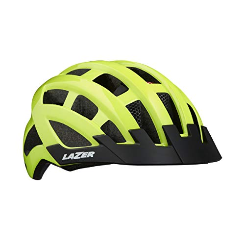 Lazer - casco COMPACT DELUXE 2019 + INSECTNET + LED posteriore, colore giallo fluo, taglia UNICA 54-61