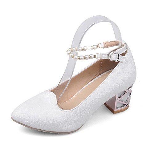AgooLar Femme Matière Souple Pointu à Talon Correct Boucle Mosaïque Chaussures Légeres Blanc
