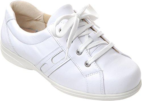 Cosyfeet Belle Schuhe - Besonders geräumig / Extra Roomy (breite Passform M+ Euro / 5E+ Width Fitting UK) Weiß, Leder