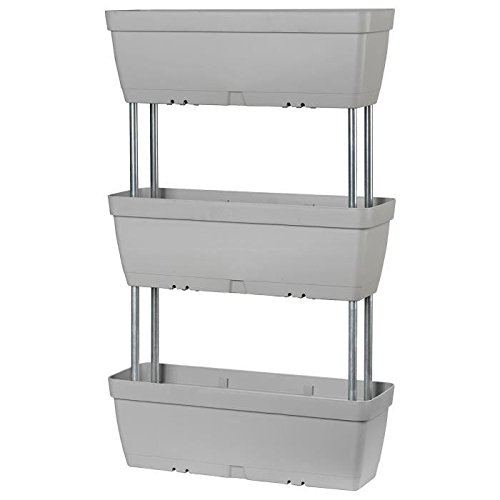 Set di 3 fioriere 50x 17cm grigio cemento in plastica componibili e impilabili, con riserva d'acqua, con aste di assemblaggio incluse