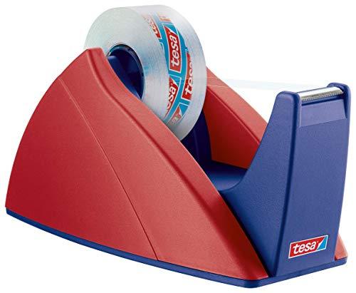 tesa Easy Cut Tischabroller - Nachfüllbarer, standfester Klebeband-Spender für Klebebandrollen bis 33 m x 19 mm - Rot/Blau