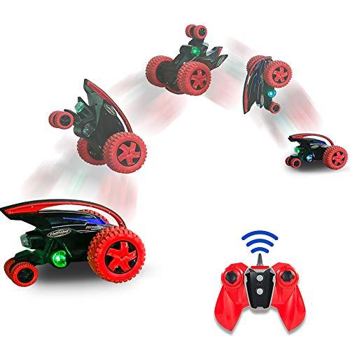 MaxTronic RC Cars, Fernsteuerungs Auto 2,4 GHz Off-Road Monster Truck Großes Vorderrad, Doppelmotor, 360 ° Drehung, Sprung, blinkendes LED-Rücklicht Rot … (Rot)