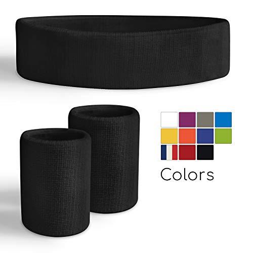 Freshkeychain Premium Schweißband Set - rutschfestes Stirnband und 2 hochwertige Schweißbänder für's Handgelenk - Dein 3er Vorteilspack + Kostenloses gratis E-Book (Schwarz)