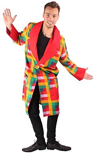 Clown Jacke bunt für Herren | Größe 54 | 1-teiliges Narren Kostüm | Pennywise Faschingskostüm für Männer | Clownkostüm für Karneval (Karierte Clown Schuhe)