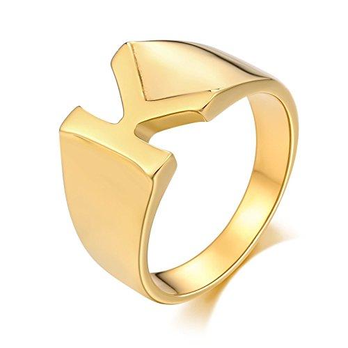 SonMo Stainless Steel Herren Ringe Siegelring Herren Buchstabe Breiter Ring Herren Gold Signet Ring Band Ring Daumenring für Mann