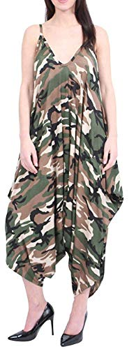 Oops Outlet Women's Beach Summer Bodice Skinny Straps Strappy Lagenlook Rompers Baggy Harem Jumpsuit Armeegrün 48-50 (UK 20-22)