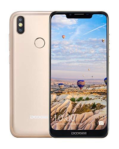 DOOGEE BL5500 Lite Moviles Libres 4G, Android 8.1 Teléfono Smartphones Libres Dual SIM 19:9 Pantalla 6.19'', 5500mAh Batería, Quad-Core 2GB RAM 16 GB ROM, 13MP+8MP+5MP, Huella Digital, Oro