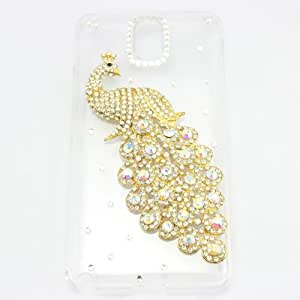 bling 3D case peacock diamond crystal hard back cover for SAMSUNG GALAXY S5 SV I9600 G900 (silver)