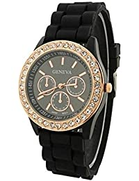 DLG New Round Dial Analogue Black Dial Black Rubber Strape Fashion Wrist Watch For Women And Girls | DLG-Geneva_Black