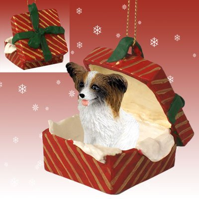 PAPILLON Dog Brown sits in a Red Gift Box Christmas Ornament New RGBD47A by Eyedeal Figurines -