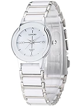 Longbo Luxus Damen Unisex Silber Weiß Keramik Armband Uhren Casual Paar Kleid Armbanduhr Kristall Rinestone Wasserdicht...